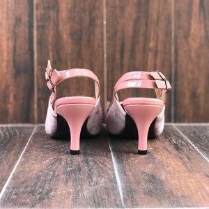 c03393de8e0 Boutique Shoes - Blush Pink Snake Print Slingback Kitten Heel Pump
